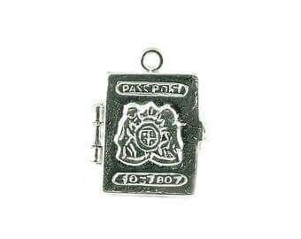 Sterling Silver Opening Passport Charm For Bracelets