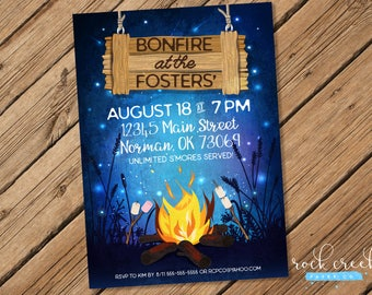 Backyard Bonfire Invitation, Autumn Party, Autumn Bonfire, S'mores Roasting, Summer Bonfire, Summer Party, Printable Party Invitation