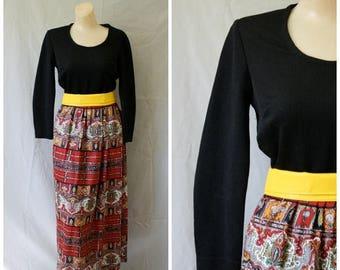 Sale 1970s Maxi Cocktail Dress / Vintage Modest Maxi Dress / Vtg 70s Maxi Dress / Vintage Full Length Dress / Toni Todd Dress S/M