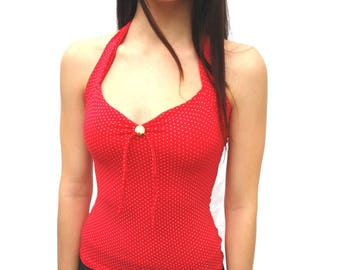 Sirena halter top red pin-up