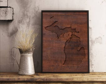 Michigan Faux Carved Red Wood Digital Art Print | Digital Prints | PNG Digital Art | You Print At Home Digital Download Art | Wall Hangings