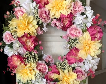 Colorful Wreaths for Summer, Summer Door Decor, Flower Wreaths, Yellow Wreaths, Colorful Wreaths, Bright Wreaths