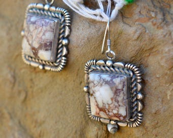 Crazy Horse sterling silver earrings Native American wild horse magnesite square set Arazona south western vintage
