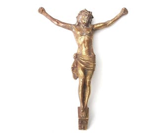 Antique bronze Corpus of Christ head to right / French crucifix