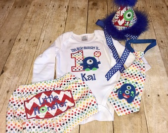 Primary Colors Little Monster Birthday Set Bodysuit / Hat / Tie / Diaper Cover / Mom and Dad Shirts / High Chair Banner or Wall Hanger
