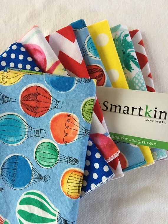 Winter Fun Pack Set of 8 Flamingos, Hot Air Balloons, Polka Dots and Chevron All Cotton Cloth Napkins 12x15 in Size by Smartkin