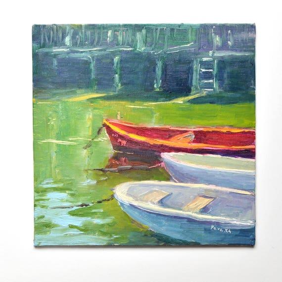"Boats in Nantucket, 10"" X 10"""