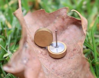 Brass Stud Earrings | Circle Studs | Titanium Studs | Hypoallergenic Studs | Industrial Metal Studs | Titanium Earrings | Circle Earrings