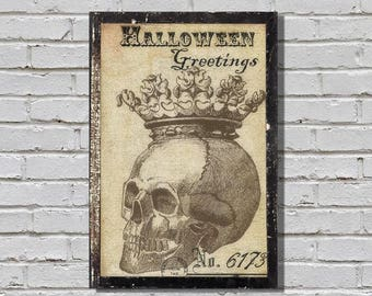 Grungy Skeleton with Crown, Steampunk, Goth, Halloween Wall Art
