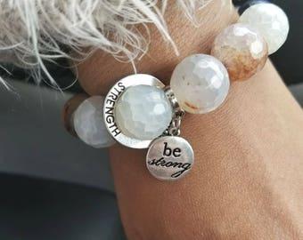 Agate Beaded Bracelet/ Be Strong Charmed Bracelet/Charmed Agate Beaded Bracelet