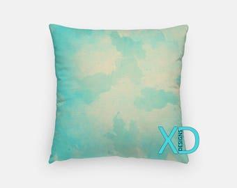 Sky Blue Watercolor Pillow, Blue Pillow Cover, Paint Design Pillow Case, Watercolor Design, Light Home Decor, Decorative Pillow Case, Sham