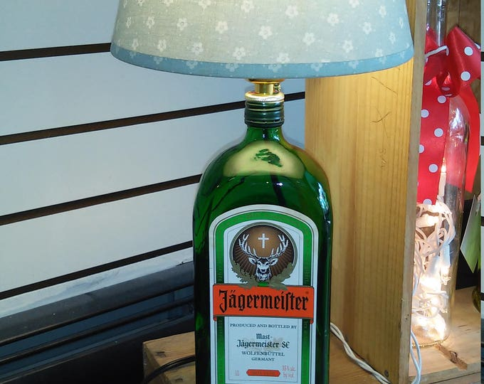Featured listing image: Bar Lighting. Recycled Jagermeister Liqueur Bottle Working Table Top, Desk Lamp. Office, Bedroom Light. Game Room Decor. Free Shipping!
