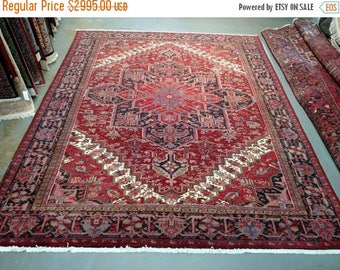 SUMMER CLEARANCE 1990s Hand-Knotted Vintage Heriz Gorovan Persian Rug (3481)
