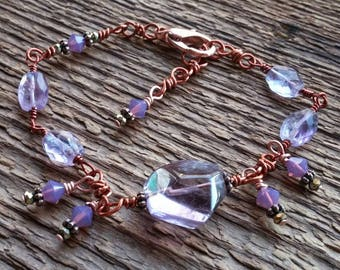 Amethyst Bracelet, Wire Wrapped Bracelet, Ultra Violet, Bohemian Jewelry, Copper Bracelet, Beaded Bracelet, Gift for Her