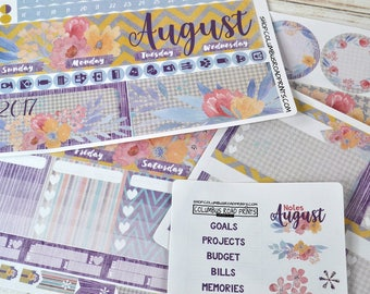 2017 August Monthly Calendar and/or Notes Kit, fits New Erin Condren Life Planner 2017-18, August Kit, Notes Kit, Calendar Kit, Monthly