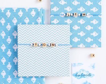 Accordion photo album for boy CUSTOME NAME Mini photoalbum boy Personalized baby album zigzag fish with blue fabric cover Baby shower gift