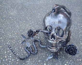 Hand Forged Skull, Rose and Snake Sculpture. Hand forged by Blacksmith