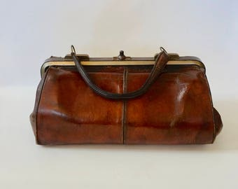 SALE - Antique French Gladstone Leather Doctors Bag