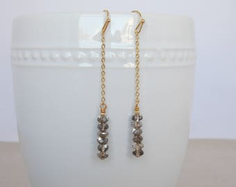 Long Gold Chain Earrings with Silver Beads, Beaded Earrings, Gold Dangle Earrings, Elegant Earrings