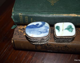 1 Dollar Shipping! Two Pill Boxes with Enamel Lids