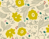 Chicken Quilt Fabric Pecking Hens in Ivory by Elizabeth Grugaugh for Blend Fabrics Garden Roost Collection Ivory Floral Fabric Hen Fabric