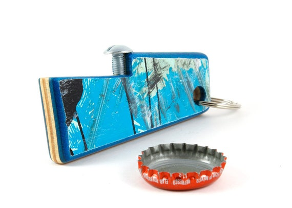 Recycled Skateboard Bottle Opener Keychain