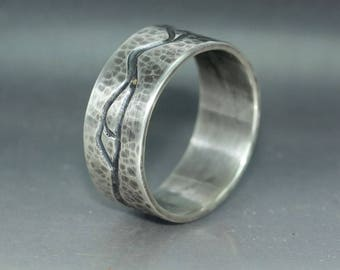 A handmade  Silver Wedding Band  Organic Mans Wedding Band  Mens Wedding Ring  Rustic Silver Wedding Ring  Unique Mans Wedding Band