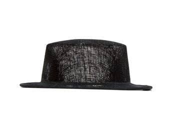 Black Sinamay Top Hat Fascinator Hat Base - Available in 4 Colors