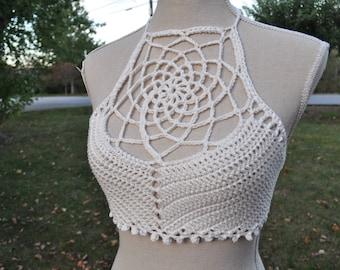 Cream Dreamcatcher Crochet Crop Top