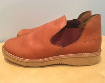 Vintage Men's Slip on Leather Shoes in Tan Leather- Men's Size 8W