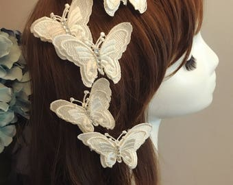 DARKWHISPER Couture Wedding Season Handmade Elegance White Butterfly Hair accessory (set of 5)