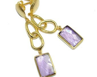 Lilac Quartz Sterling Silver Earrings - weight 12.30g - dim L- 2 1 8, W - 3 8, T - 3 16 inch - code 3-sie-16-33