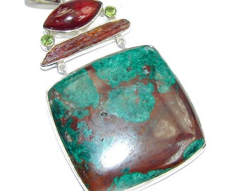 morrisonite, Tourmaline, Amber, Peridot Sterling Silver Pendant - weight 41.10g - dim L- 3 3 8, W - 1 3 4, T- 3 16 inch - code 13-lip-16-30