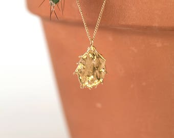 Prickly Pear Necklace- 14k Yellow Gold
