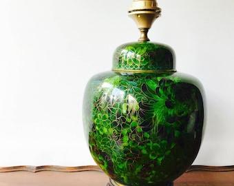 Original Vintage green cloisonne lamp, jade color