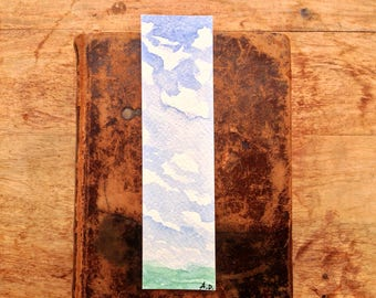 Watercolor Bookmark, Minimalist Landscape, Unique bookmark, book lover gift, book accessories