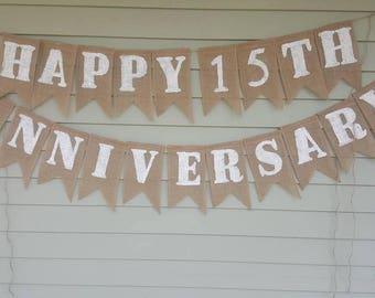 Happy 15th anniversary banner.