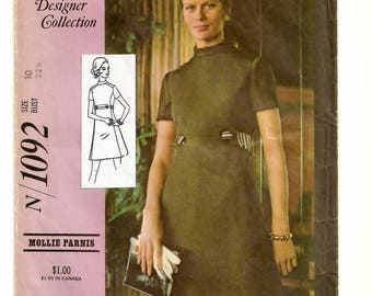 "A Princess Seam, Short Sleeve, Band Collar A-Line Dress Pattern w/Belt & Seam Pocket Details for Women: Size 10 Bust 32-1/2"" • McCall's 1092"