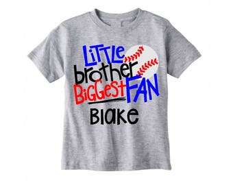 little brother biggest fan shirt, personalized baseball brother shirt, baseball brother, brother baseball, sibling sport shirt