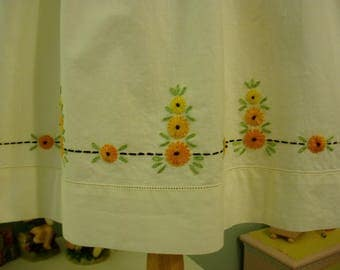 Girl's dress w/ Hand Embroidered Vintage Pillowcase Skirt, Girl's size 6