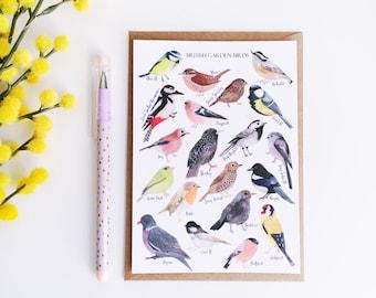 British Birds Postcard - Watercolour Print - British Nature Print - Bird Illustration - Bird Print - Watercolour Birds - Wildlife Postcard