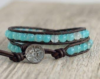 Aqua blue beaded boho chic bracelet. Hippie style jewelry