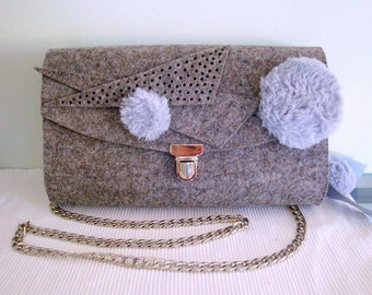 Crossbody bag, felt, gray, with flap, fall fashion, winter fashion