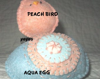 EGG and BIRDIE, Aqua, Peach, Easter,  Holiday Decor,  Spring Decor,  Home Decor,  Tucks,  Hostess Gift, Table Decor, Gift Baskets