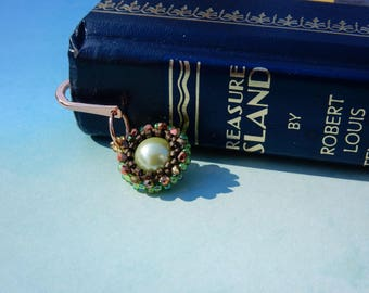 Bead Work Bookmark Pearl and Crystal