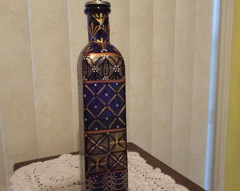 Hand Painted Cobalt Blue Bottle