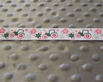 3 Yards 7/8 Inch White Girly John Deere Grosgrain Ribbon