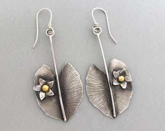 Silver Leaf long Earrings, Sterling Botanical Jewelry, Dangle Drop Earrings For Her, Unique Gifts For Any Occassion, Flower Gifts For Mom.
