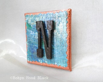 Rustic Letter N and Painted Verdigris Magnet 2 X 2