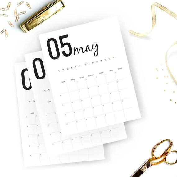 monthly calendar printable 2018